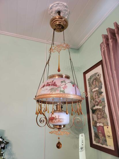 Hanging Hand Painted Swag Lamp