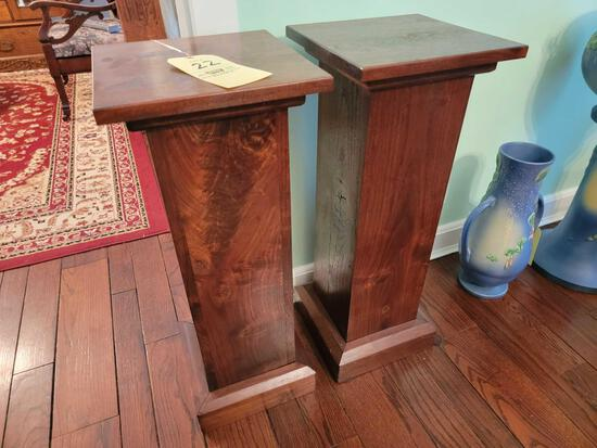 Pair of Oak Plant Stands