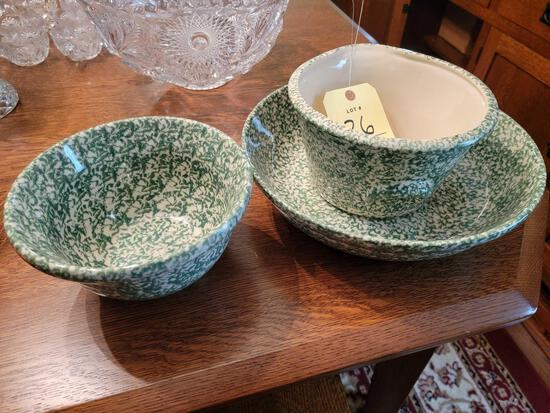 Modern Roseville Spongeware Bowls and Dish