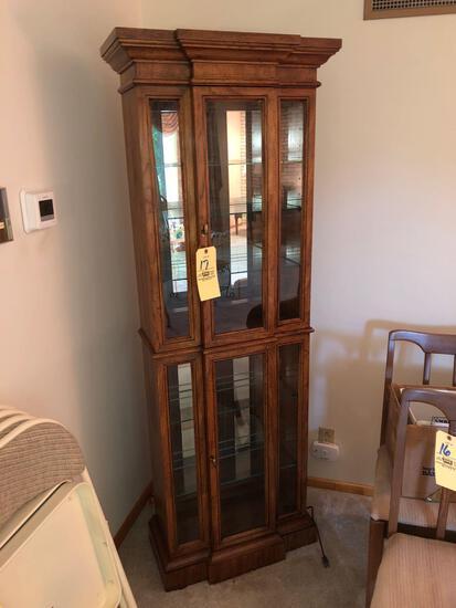 Lighted curio cabinet w/ glass shelves