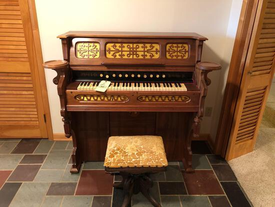 J. Estey & Co. pump organ w/ stool