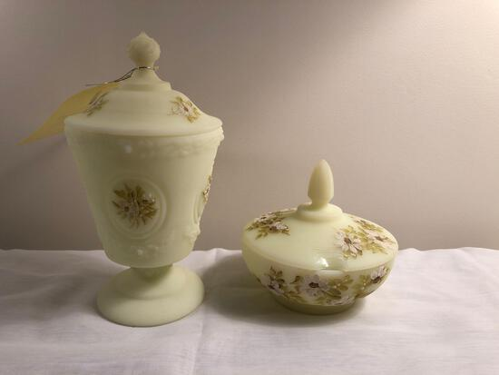 Hand-painted Fenton covered dishes