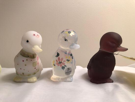 Hand-painted Fenton ducks