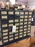 48-bin cabinet of assorted screws.