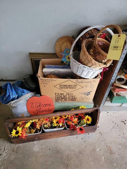 Baskets, Tarp, Wood Toolbox