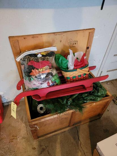 Wood Chest, Christmas Decor, Cement Goose and Clothing,