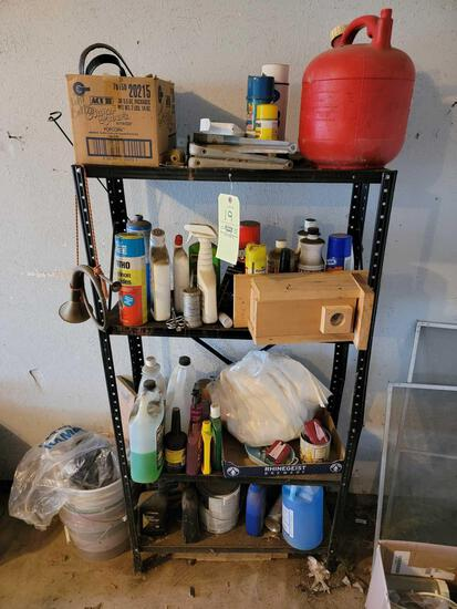 Metal Shelf and Contents, Sprays, Gas Can