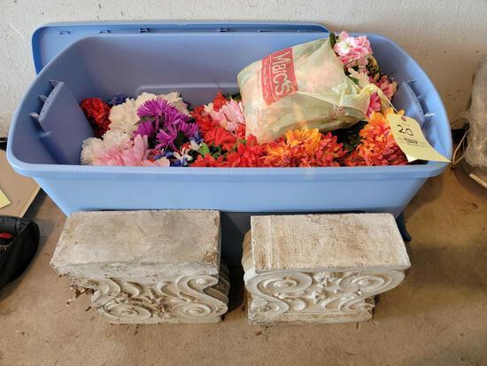 Cement Pillars, Loads of Artificial Flowers