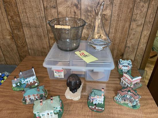 Hawthorn Gone With The Wind mini buildings - glass bucket and sailboat - pig figurine