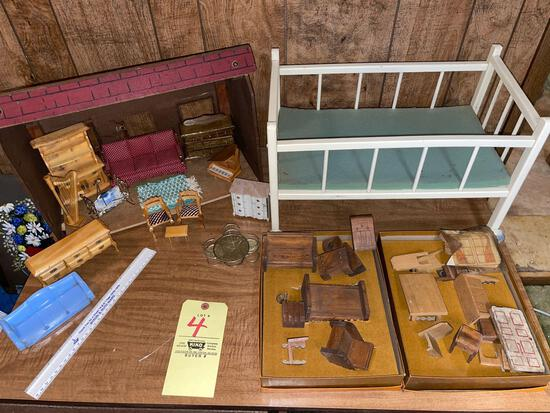 Dollhouse, Furniture & Doll Bed
