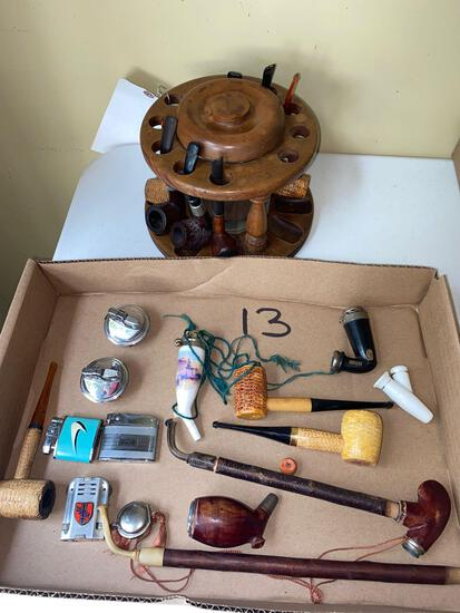Pipes and Tabasco jar / pipe holder / lighters