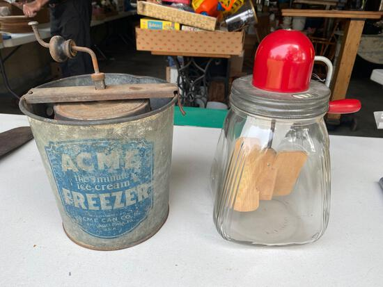Acme ice cream maker - glass churn