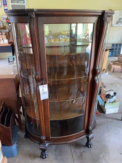 Oak curved glass curio cabinet