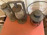 RR Lantern and two barn lanterns