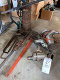 Large pipe wrench - torch - tools