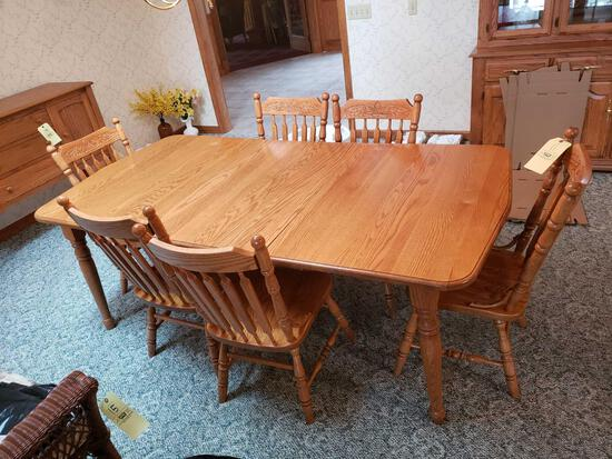 Amish made Oak table with 6 chairs