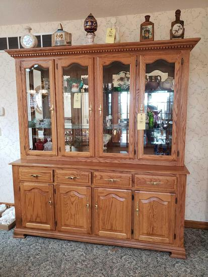 Oak 2pc. Lighted China cabinet (contents not included)