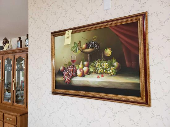 Fruit painting and decorative clock