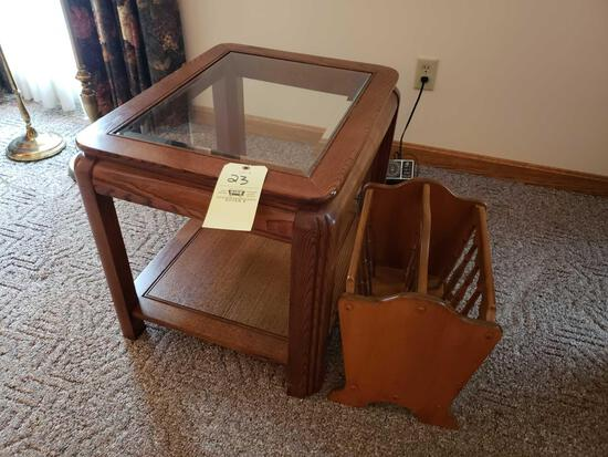 Glass top end stand, magazine rack