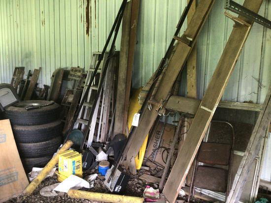 Master Mechanics Garage Door Openers, Assorted Ladders, Tires, Misc. Wood