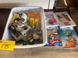 Assortment of toys, DVDs