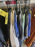 Assorted shirts, jackets, graphic tees, sizes Small to XXL