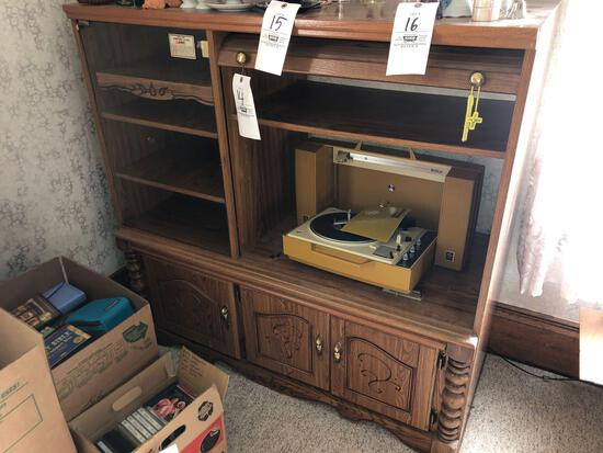 Entertainment Center, GE Record Player, Records