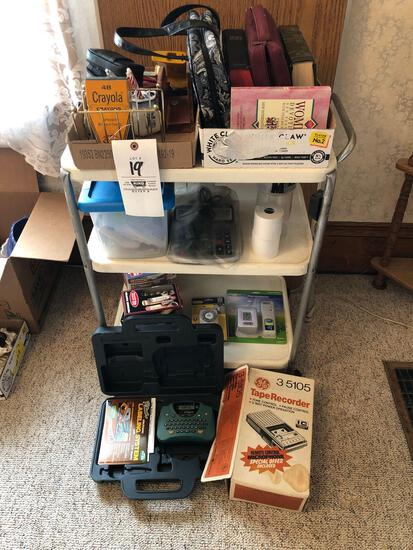 Cart, Small Folding Table, Labeler, Recorder, Stationary Items