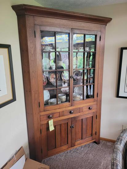 Antique 2-door corner cupboard, 7 ft. tall x 4 1/2 ft. wide