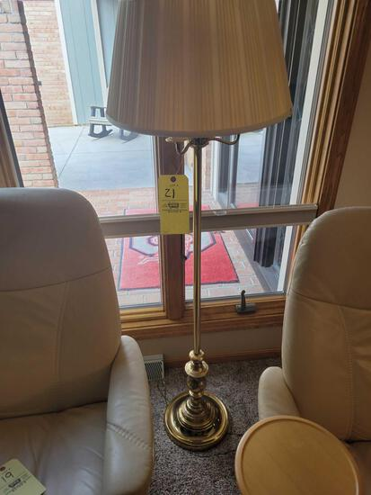 Brass finish floor lamp