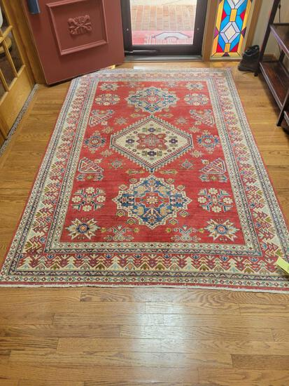 Oriental hand knotted Kazak red rug, 8 1/2 ft. x 5 1/2 ft.