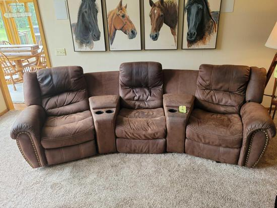 3-section electric recliner microfiber sofa with lift-top centers