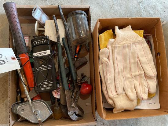 Channel locks, gloves, fence tester