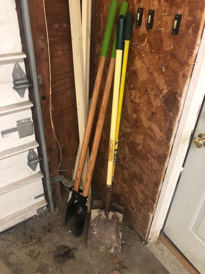 Shovels and post hole digger