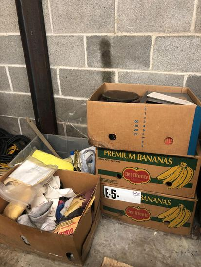 Boxes of miscellaneous tools and cleaning materials