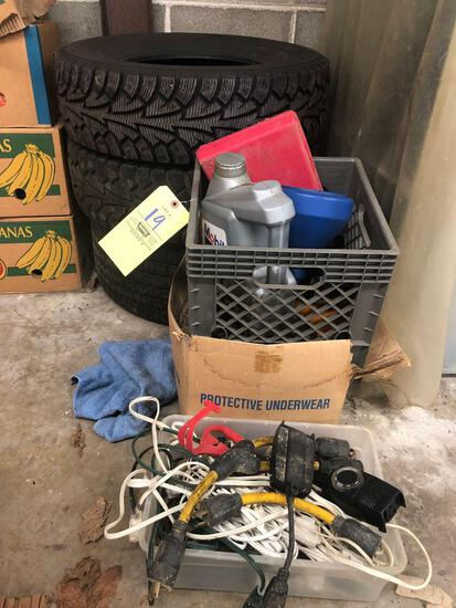 Extension cords, car items, jars and 3 tires