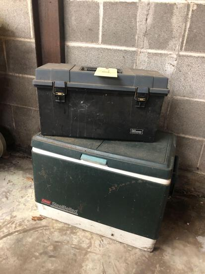 Toolbox and Coleman cooler