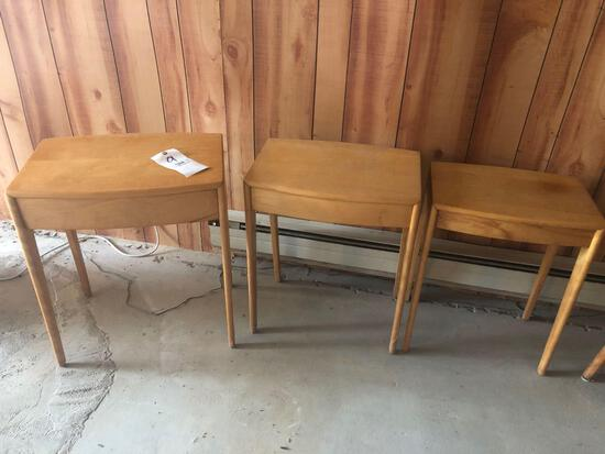 3 matching wooden end tables