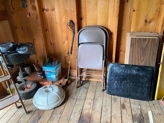 Metal folding chairs, umbrella stand, nails, power washer wand and more
