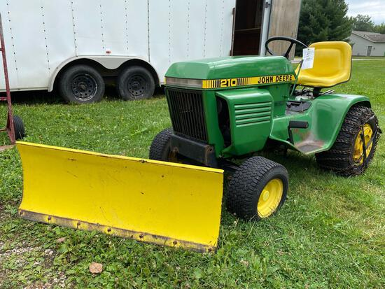 John Deere 210 Garden Tractor with snow blade, wheel weights, tire chains