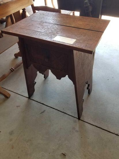 Engraved tramp art stand