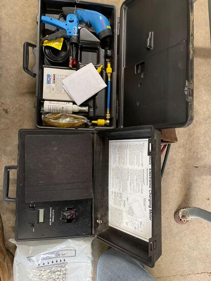 Recharging coolant tools.