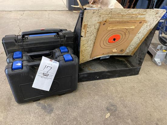 Steel target, hard plastic pistol cases