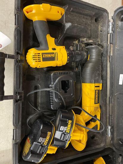 DeWalt 18volt sawsall and cordless drill. 2 batteries.