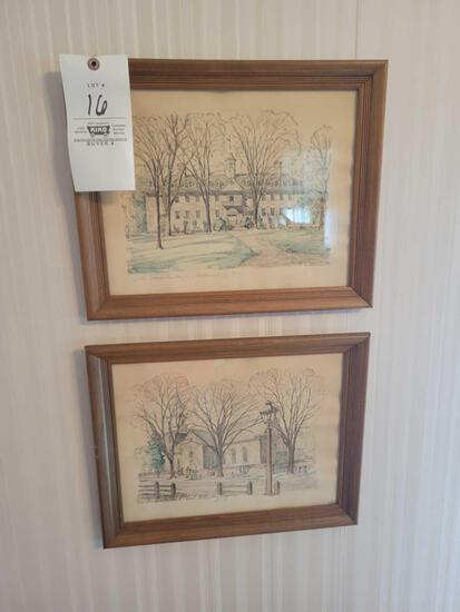Charles Overly Set of 4 watercolors of Williamsburg Virginia