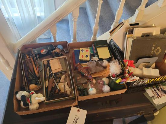 3 boxes of desk items, cards, golf balls, shot glasses