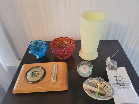 Barometer, paperweight, glassware