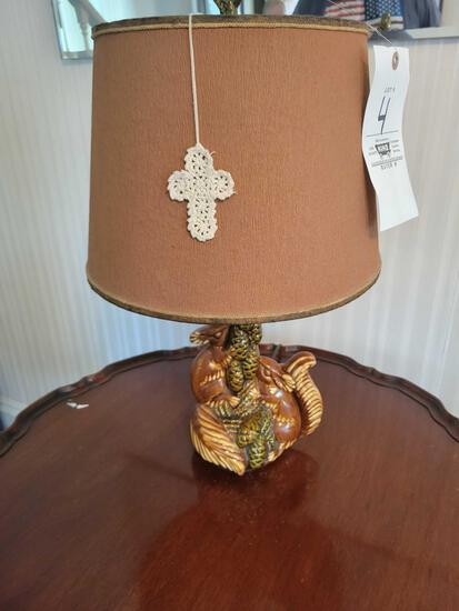 Pottery squirrel lamp