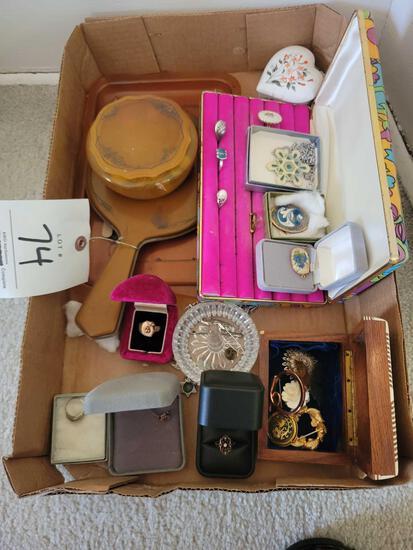 Unmarked jewelry, costume jewelry, dresser items