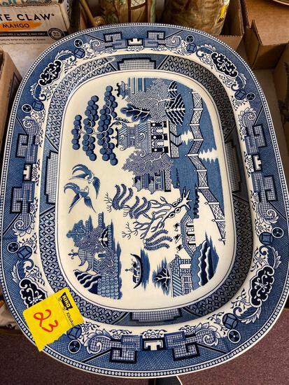 3 Blue Willow Turkey platters